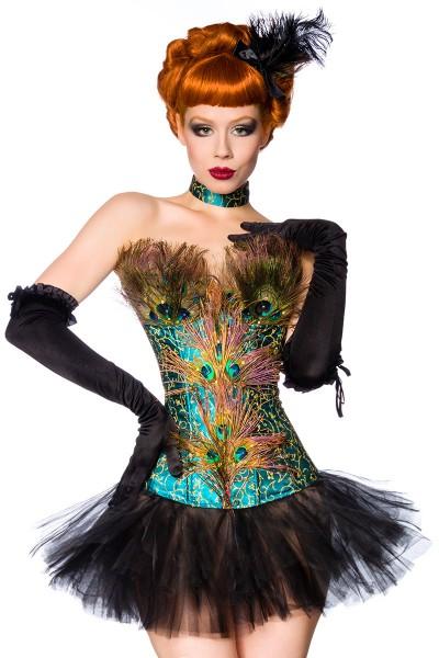 Pfau Corsage in petrol mit Petticoat und Pfaufedern sowie Strass Burlesque Corsage