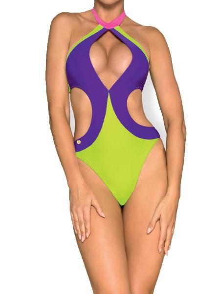 Elastischer Damen Monokini Neckholder Badeanzug mit Ausschnitt und Schnürung und Mehrfarbig Neon