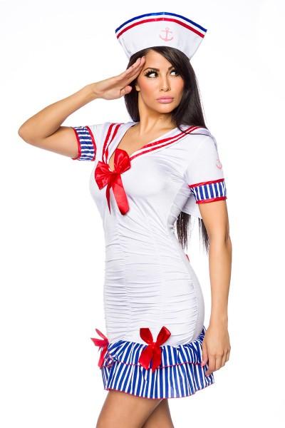 Weißes Damen Marine Kleid blau gestreift mit roten Schleifen inklusive Hut Marine Verkleidung