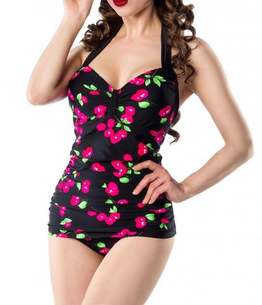 Retro Vintage Damen Badeanzug gepaddet mit Kirschmuster Neckholder Bademode schwarz pink
