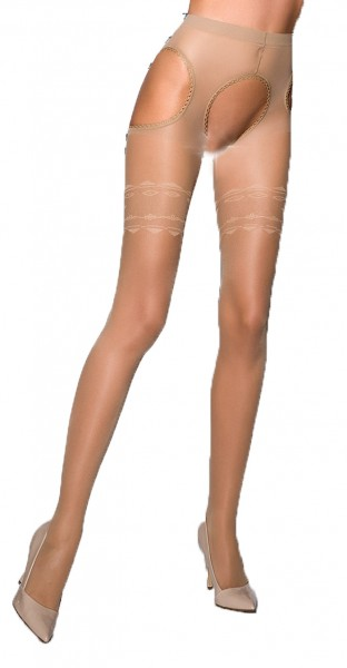 Beige Damen Dessous Strumpfhose elastisch transparent hautfarben im Straps Look ouvert im Schritt of