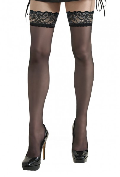 Damen Dessous halterlose Strümpfe aus Spitze in schwarz Stockings mit Silikonstreifen und Spitze 20