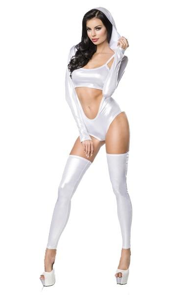 Erotisches Damen Dessous wetlook Set aus Träger Top, Body und Beinstulpen in silber aus Metallic Mat