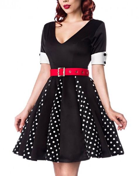 Schwarzes Godet Kleid mit schwarzen gepunkteten Keilen und rotem Gürtel V-Ausschnitt Rockabilly Kurz