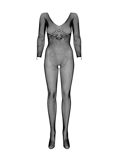 Strick Damen Dessous Bodystocking Einteiler Optik in schwarz mit langen Ärmeln und Overall erotisch
