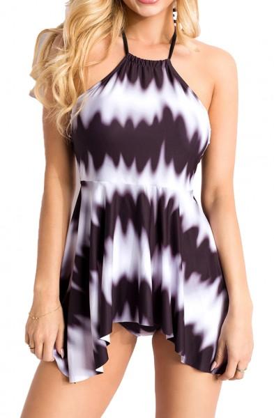 Elastischer Damen Bikini Neckholder Swimsuit mit Wellen und Streifen Muster schwarz weiß zum binden