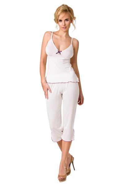 Damen Dessous Pyjama Nachtwäsche Set aus Top mit Hose dehnbar mit Gummibund in weiß Schlafanzug