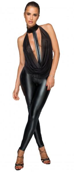 Overall mit Tülloberteil und Choker Frauen wetlook Legging mit Tüll Neckholder Top ärmellos rückenfr