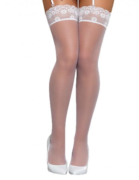 Damen Stockings weiß Strümpfe mit Spitze halterlos Straps-Strümpfe erotisch transparent