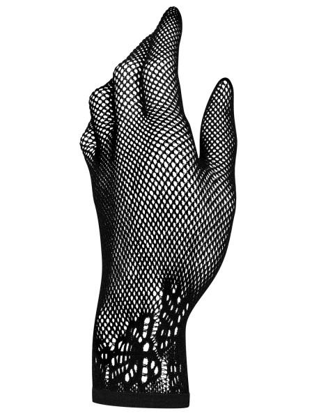 Transparente Handschuhe in schwarz elastisch Abendhandschuhe edel mit Muster Netzhandschuh