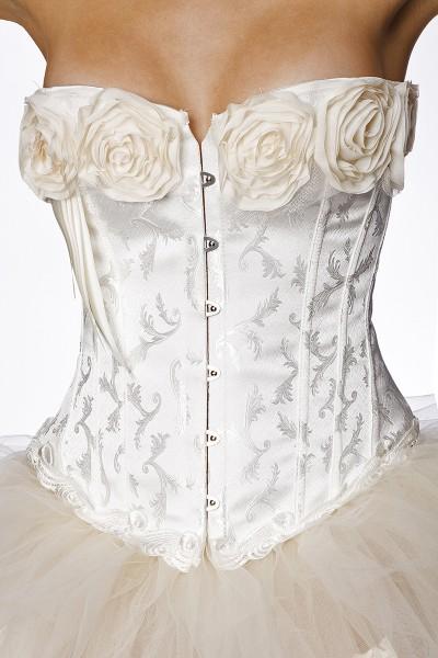 Weiße Corsage mit Rosen Muster und Rüschen sowie einer Stickerei Barock Corsage Burlesque