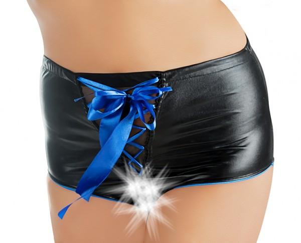 Sexy Damen wetlook Slip in schwarz mit blauer Schnürung und Schleife erotisches Höschen ouvert