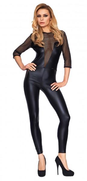 Schwarzes Damen Dessous fetisch Wetlook Catsuit mit Netz Material und Reißverschluss dehnbar