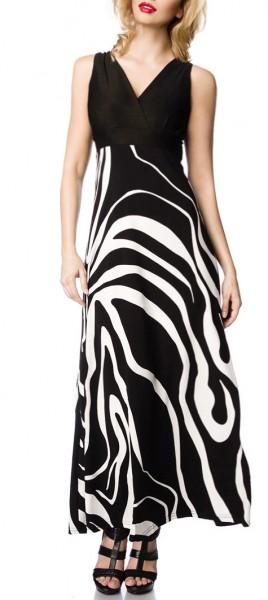 Schwarzes langes Kleid mit Zebra Muster tiefem Ausschnitt und Bindeband an der Taille