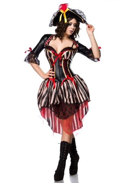 Damen Piraten Kleid Kostüm Verkleidung mit Bolero, Schleifen, Hut und Spitzenbesatz in schwarz rot W