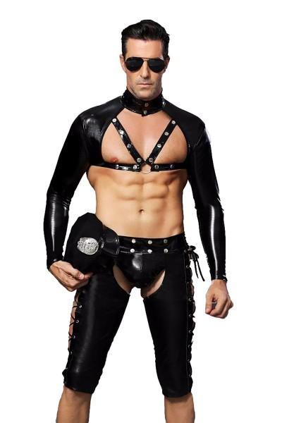 Männer sexy schwarzes Polizei-Kostüm mit Shorts Mütze Oberteil Beinlingen und Sonnenbrille Handschuh