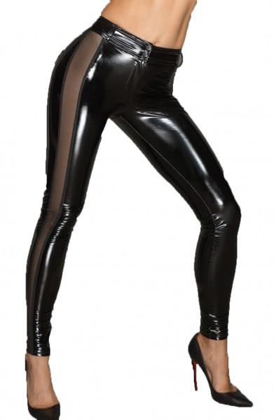 PVC-Leggins mit Tülleinsätzen Damen Dessous Gogo Hose schwarz eng mit Reißverschluss
