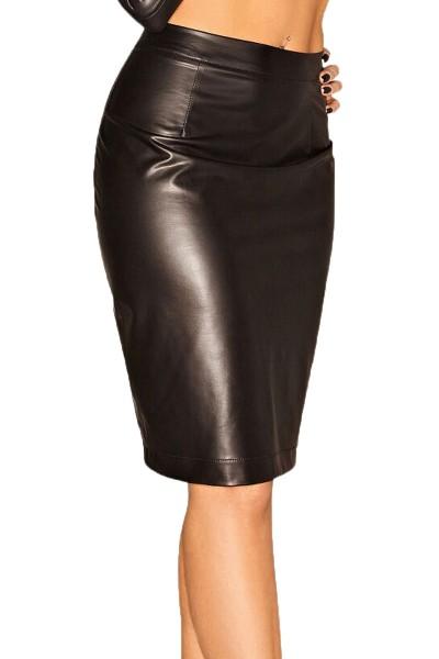 Damen Rock knielang aus wetlook Material mit Reißverschluss schwarz