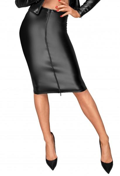 Erotischer Damen Dessous wetlook Rock mit handgemachten Zierfalten und Reißverschluß knielnag schwar
