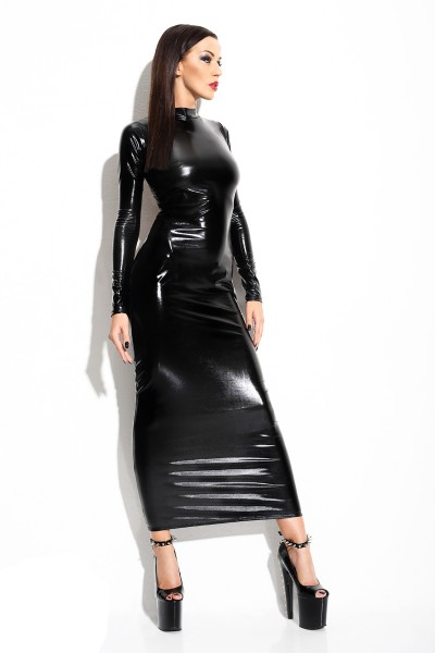 Langes schwarzes Damen Dessous Wetlook-Kleid dehnbar Maxikleid rückenfrei mit Kragen und T-String gl