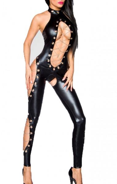Schwarzer Damen Wetlook Overall mit Ösen und Cutouts vorn offen mit Schnürung aus Metallketten ouver