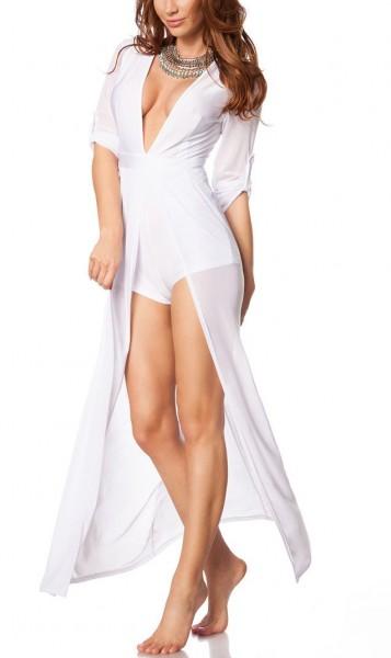 Teiltransparentes Bodykleid mit halblangen Ärmeln und angesetzter Schleppe und luftiges Strandkleid