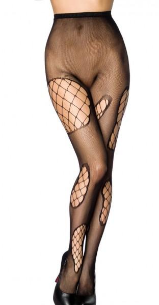 Transparente schwarze Damen Strumpfhose Grobnetz Design und Löcher Muster und elastischem Bund