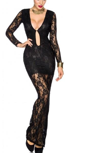 Schwarzes langes transparentes Abendkleid aus Spitze mit Blumenmuster und tiefem V-Ausschnitt