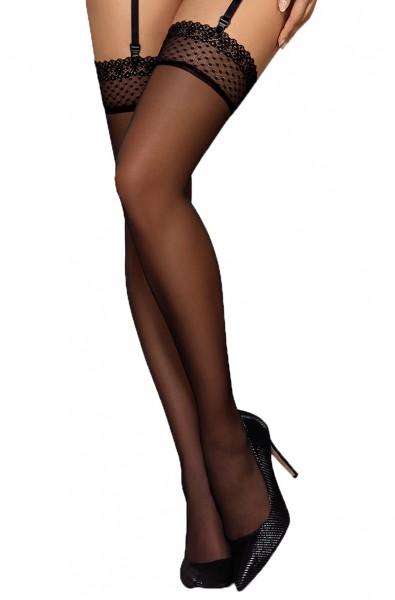 Damen Stockings schwarz Strümpfe mit Netz und Spitze halterlos Straps-Strümpfe erotisch transparent