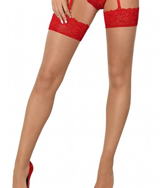 Damen Stockings rot Strümpfe mit Spitze halterlos Straps-Strümpfe erotisch transparent