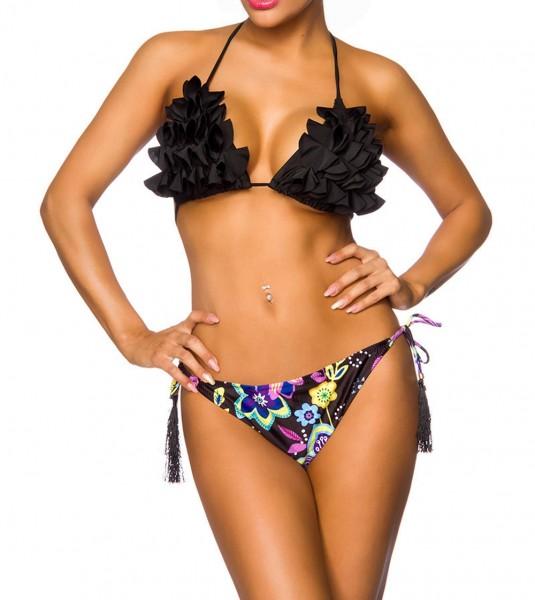 Damen Triangel Bikini mit Cups Neckholder mit Höschen zum binden schwarz gemustert