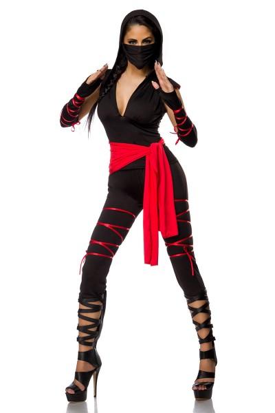 Damen Ninja Outfit Kostüm Verkleidung mit Top, Hose, Schnürung aus Jersey und Baumwolle