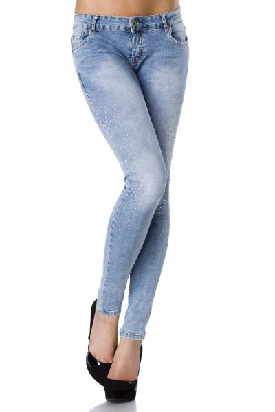 Helle Damen Jeans mit Strass und aufgesetzten Gesäßtaschen im Röhrenschnitt