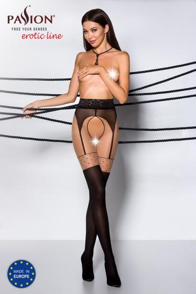 Frauen ouvert Strumpfhose schwarz beige elastisch im Schritt offen mit Spitzenrand und Straps-Muster