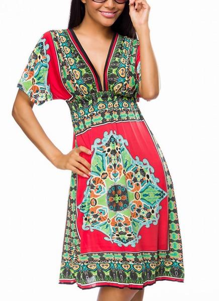 Tunikakleid mit V-Ausschnitt vorn und hinten und Kimono-Ärmeln Paisley Muster