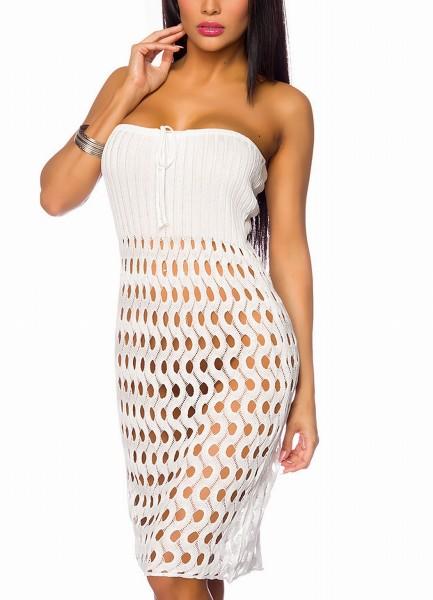Weißes Bandeaukleid mit Löchern das auch als Rock getragen werden kann