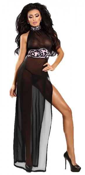 Langes schwarzes erotisches Frauen Dessous Chemise Neckholder Kleid transparent schwarz mit String T
