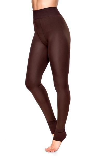 Braune Damen Leggings mit flauschiger Innenseite und warm haltend hoch geschnitten enge Stoffhose On