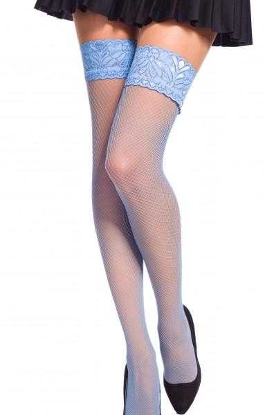 Damen Dessous halterlose Strümpfe aus Spitze in blau Stockings mit Silikonstreifen und Spitze