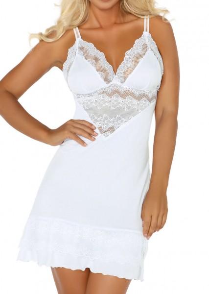 Erotisches Chemise Negligee in weiß mit String und Spitze Dessous Kleid Nachtkleid mit Spitze und Mo
