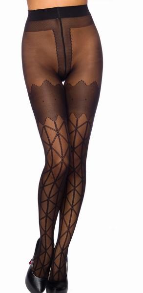 Schwarze transparente Damen Strumpfhose mit Karomuster und Kontrast im 10er Pack