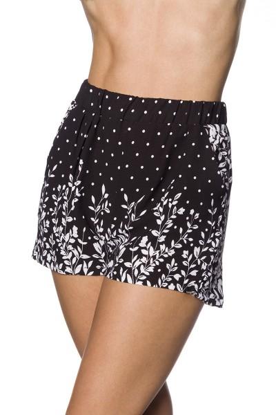 Schwarze weite Shorts mit weißem Blätterdruck weite Schlupfhose mit Eingriffstaschen Crepe Stoff