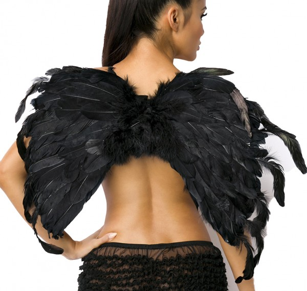 Schwarze Damen Engels Flügel Gummibänder Flüge Dark Angel Verkleidung Fasching