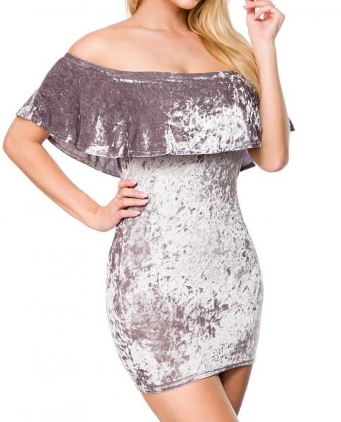 Graues kurzes Kleid mit Carmenausschnitt und Pannesamt sowie Gummizug Schulterfrei