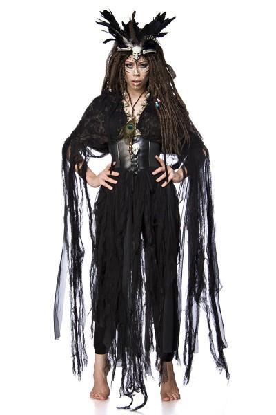 Damen Voodoo Priesterin Fantasy Kostüm Hexen Verkleidung aus Fetzencape, Leggings, Krone und Totenko