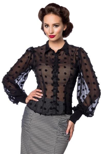 Schwarze kurze Vintage-Bluse mit langen Ärmeln und Umlegekragen transparenter Netzstoff Knopfleiste
