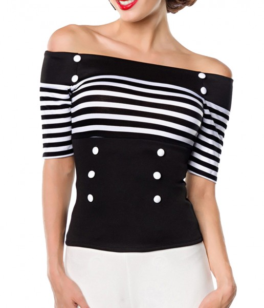 Schwarze schulterfreie Bluse aus Jersey mit kurzen Ärmeln und Carmenausschnitt weiß gestreift Retro-