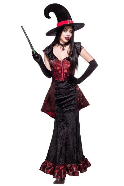 Damen Hexen Outfit Kostüm Verkleidung mit Top, Rock, Hut und Handschuhe Zauberstab in bunt Hexen Out