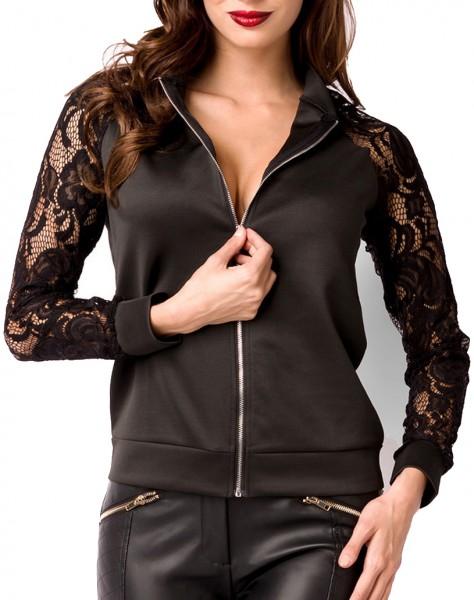 Schwarze kurze Damen Jacke mit Raglanärmel Reißverschluss vorn transparenter Spitzenstoff