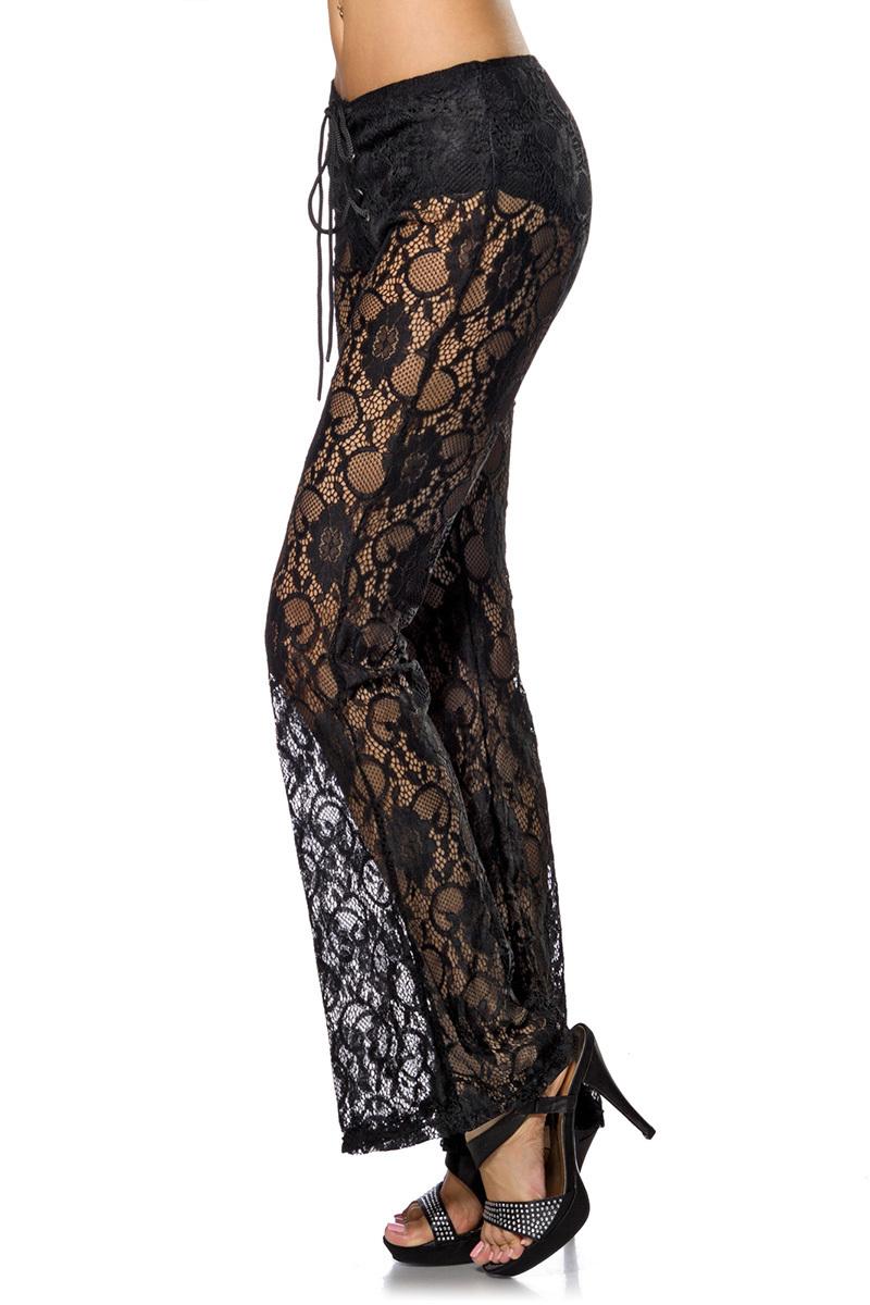 ... Vorschau  Transparente schwarze Damen Spitzenhose mit Blumenmuster und  Schnürung Stoffhose ... 78d735c38c